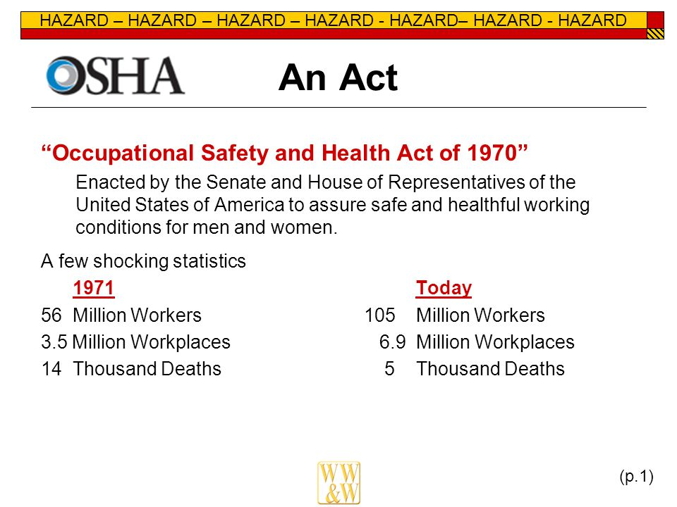 HAZARD – HAZARD – HAZARD – HAZARD - HAZARD– HAZARD - HAZARD An Act Occupational Safety and Health Act of 1970 Enacted by the Senate and House of Representatives of the United States of America to assure safe and healthful working conditions for men and women.