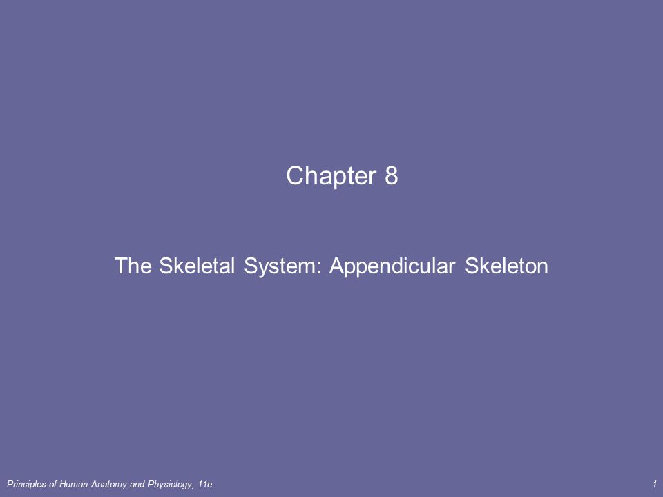 Principles of Human Anatomy and Physiology, 11e1 Chapter 8 The Skeletal System: Appendicular Skeleton