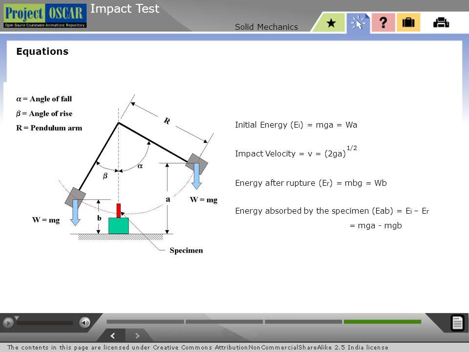Impact Test Solid Mechanics Equations Initial Energy (E i ) = mga = Wa Impact Velocity = v = (2ga)  Energy after rupture (E r ) = mbg = Wb Energy abs