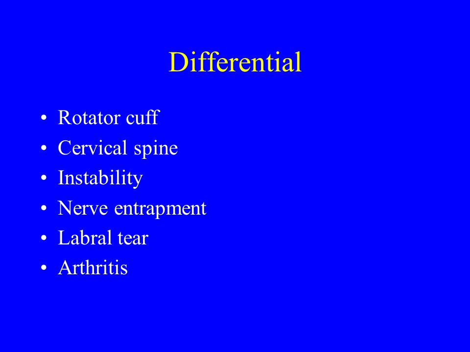 Differential Inflammatory Tumor Infection Fracture Adhesive Capsulitis Intrathoracic Biceps