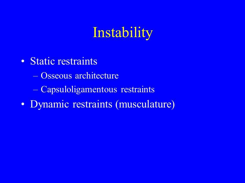 Instability Static restraints –Osseous architecture –Capsuloligamentous restraints Dynamic restraints (musculature)
