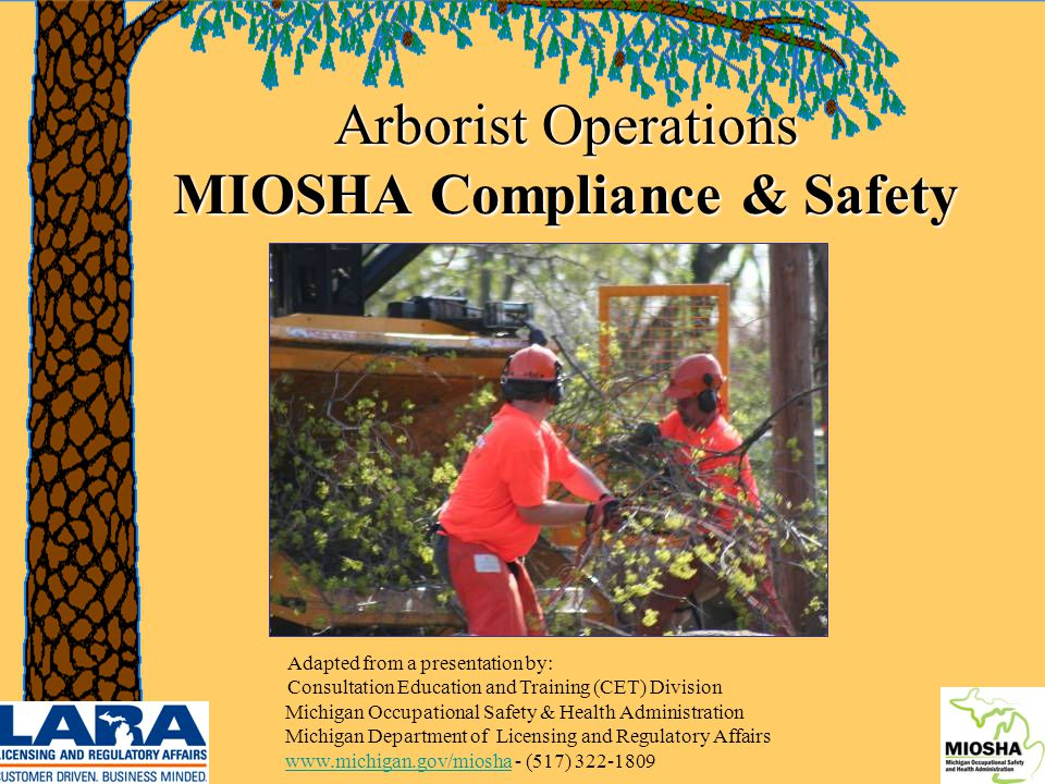1 Arborist Operations MIOSHA Compliance & Safety Adapted from a presentation by: Consultation Education and Training (CET) Division Michigan Occupational Safety & Health Administration Michigan Department of Licensing and Regulatory Affairs www.michigan.gov/miosha - (517) 322-1809 www.michigan.gov/miosha