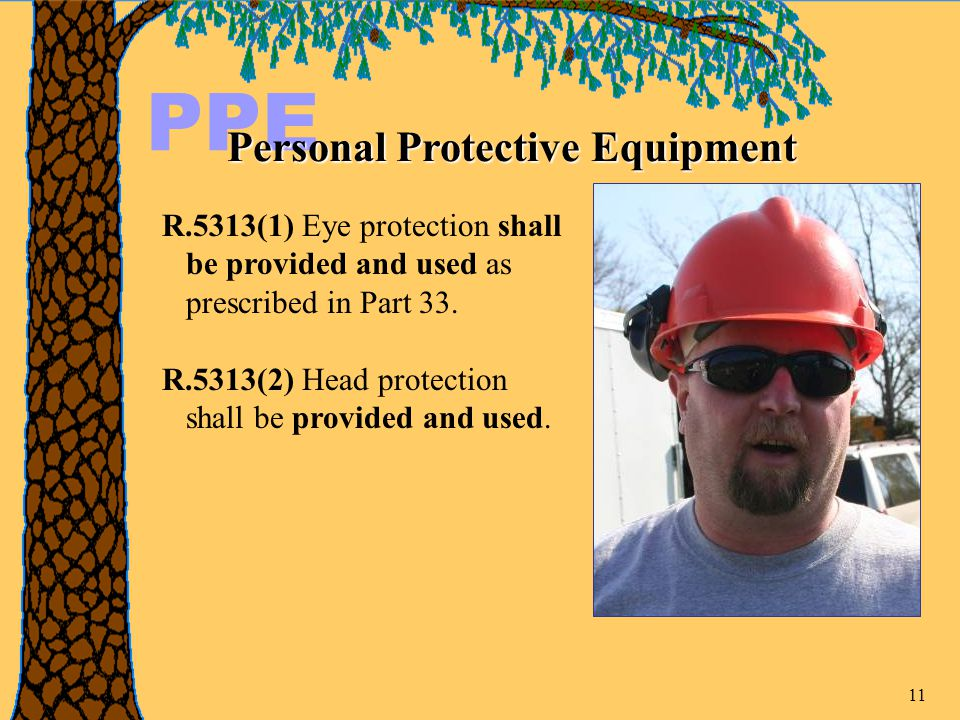 11 PPE Personal Protective Equipment R.5313(1) Eye protection shall be provided and used as prescribed in Part 33.