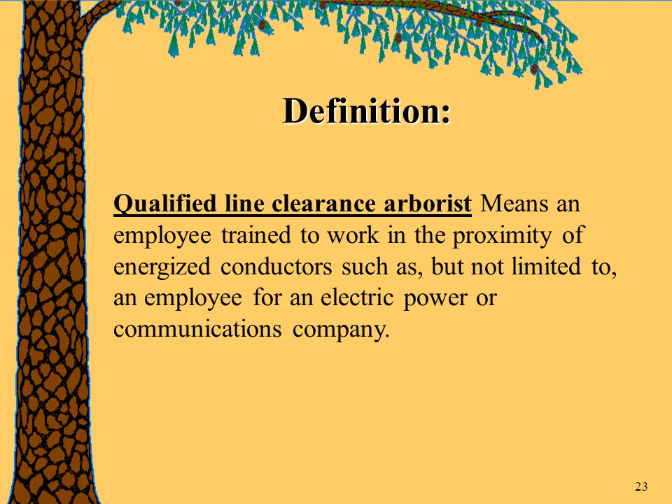 23 Definition: Qualified line clearance arborist Means an employee trained to work in the proximity of energized conductors such as, but not limited to, an employee for an electric power or communications company.