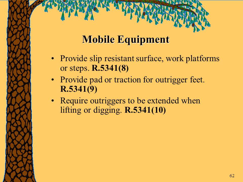 62 Mobile Equipment Provide slip resistant surface, work platforms or steps.