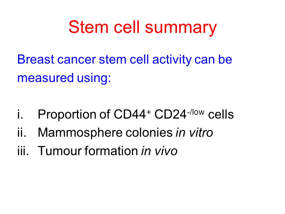 Breast cancer stem cell activity can be measured using: i.Proportion of CD44 + CD24 -/low cells ii.Mammosphere colonies in vitro iii.Tumour formation in vivo Stem cell summary