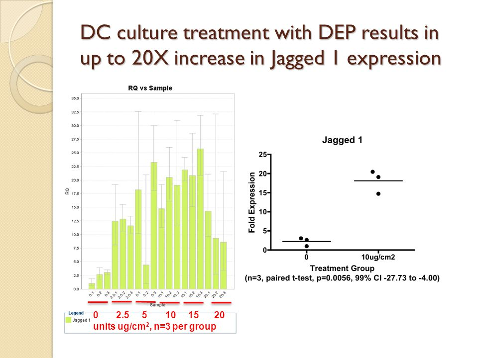 DC culture treatment with DEP results in up to 20X increase in Jagged 1 expression 0 2.5 5 10 15 20 units ug/cm 2, n=3 per group