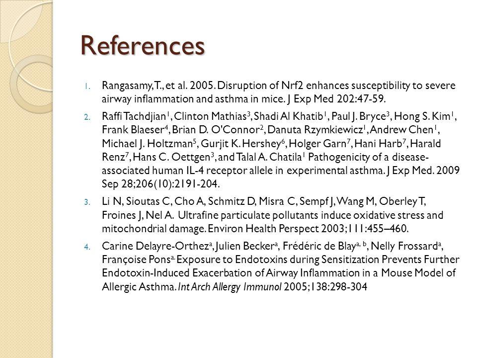 References 1. Rangasamy, T., et al. 2005.