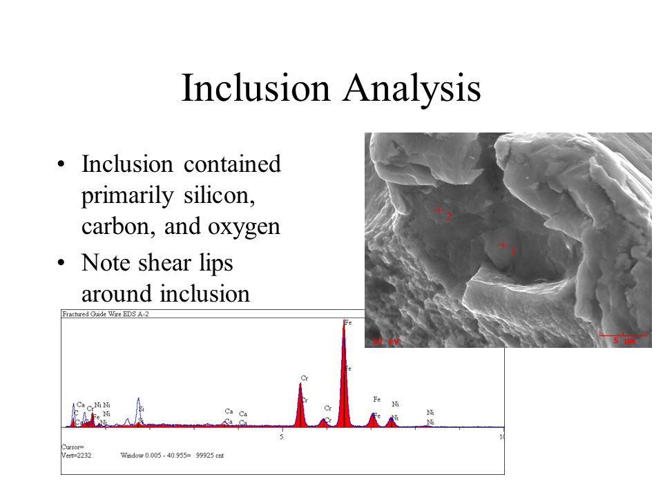 Inclusion Analysis Inclusion contained primarily silicon, carbon, and oxygen Note shear lips around inclusion
