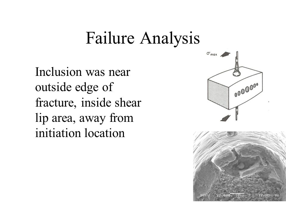 Failure Analysis Inclusion was near outside edge of fracture, inside shear lip area, away from initiation location
