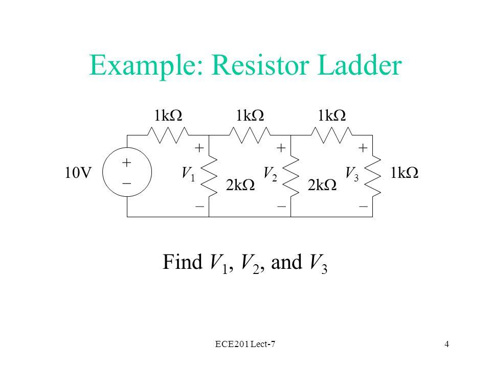 ECE201 Lect-74 1k  2k  1k  2k  1k  +–+– 10V + – V1V1 + – V3V3 + – V2V2 Example: Resistor Ladder Find V 1, V 2, and V 3