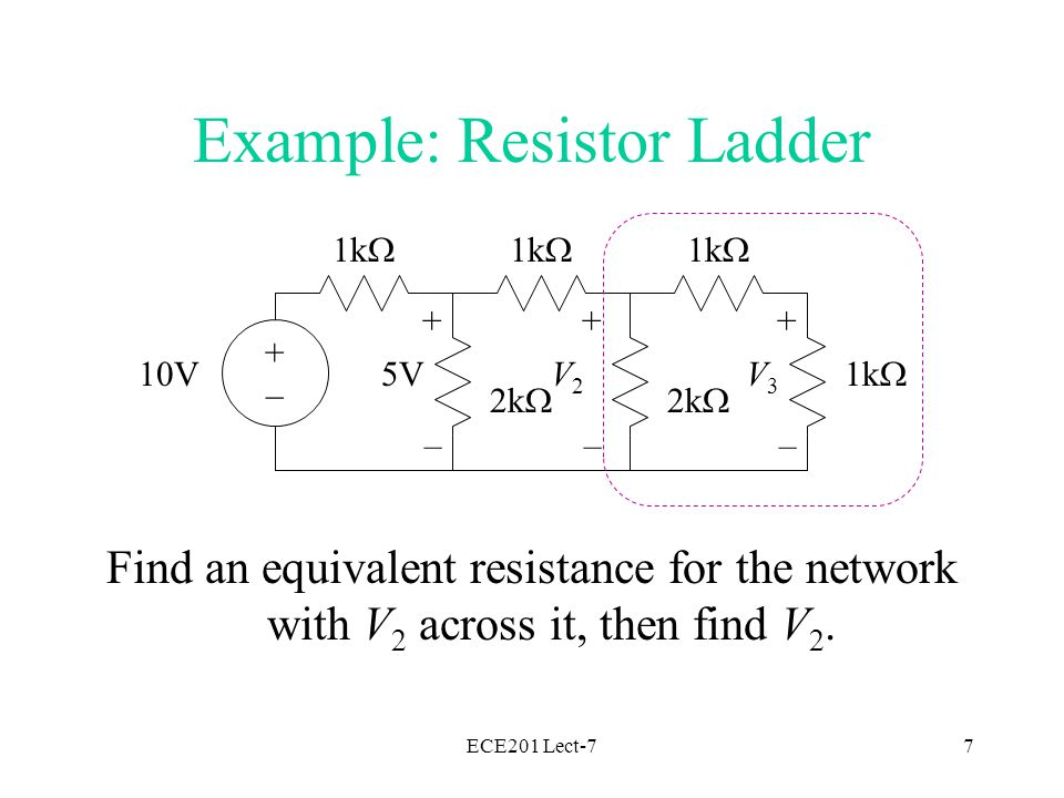 ECE201 Lect-77 1k  2k  1k  2k  1k  10V + – 5V + – V3V3 + – V2V2 Example: Resistor Ladder Find an equivalent resistance for the network with V 2 across it, then find V 2.
