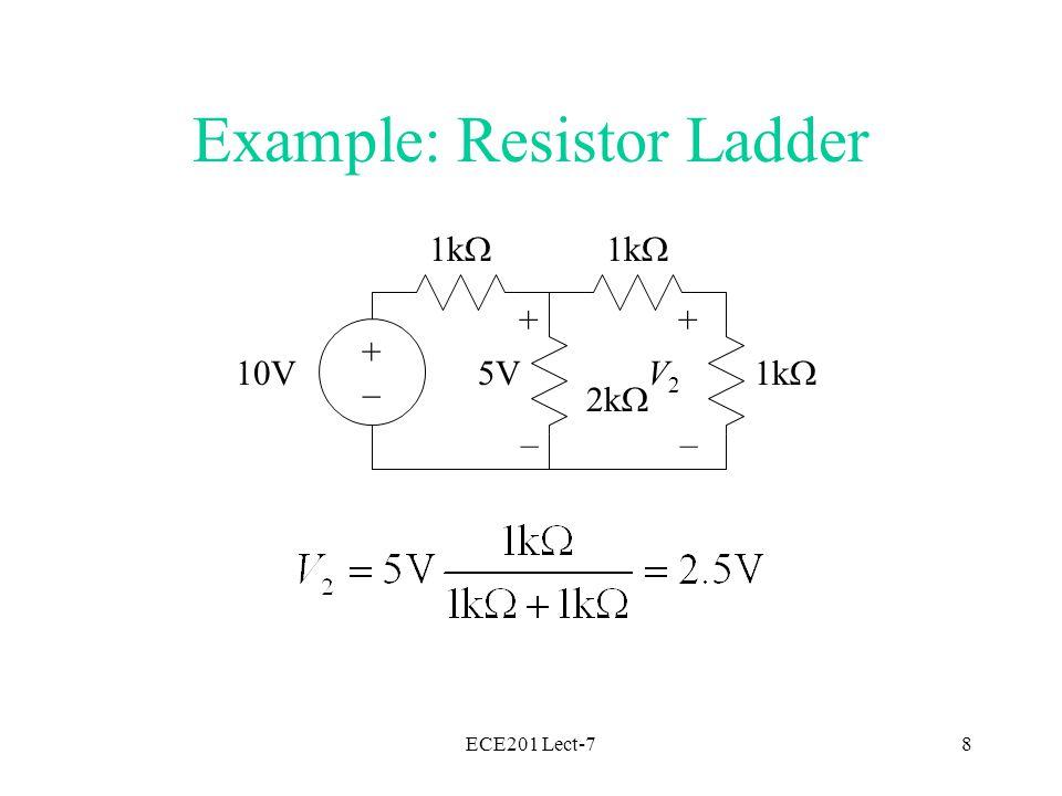 ECE201 Lect-79 1k  2k  1k  2k  1k  10V + – 5V + – V3V3 + – 2.5V Example: Resistor Ladder +–+–