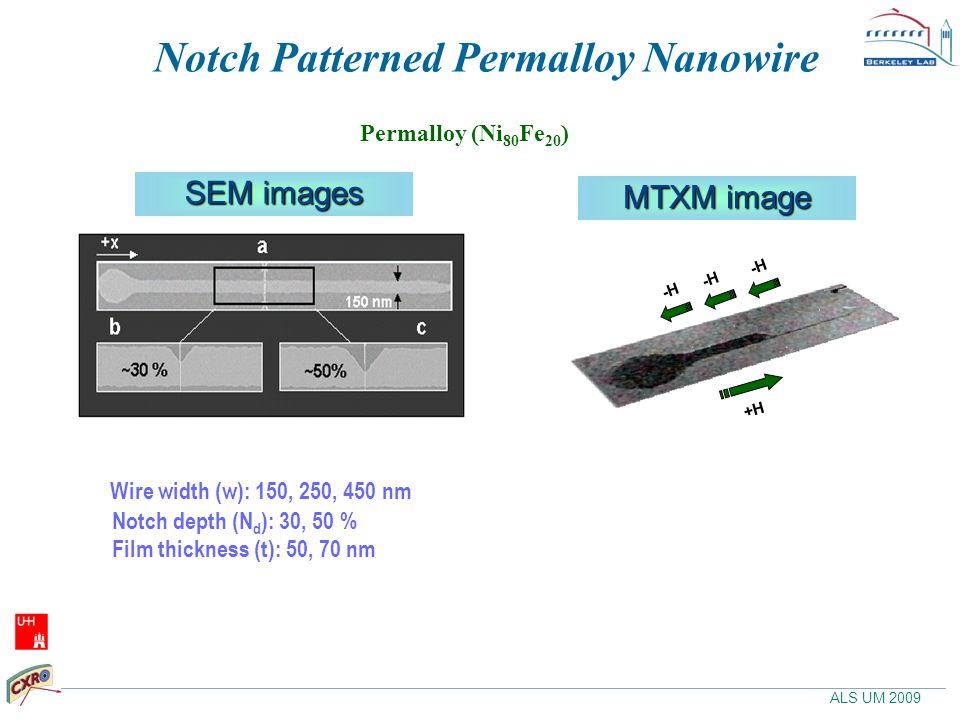 ALS UM 2009 Permalloy (Ni 80 Fe 20 ) SEM images Wire width (w): 150, 250, 450 nm Notch depth (N d ): 30, 50 % Film thickness (t): 50, 70 nm Notch Patterned Permalloy Nanowire +H -H MTXM image