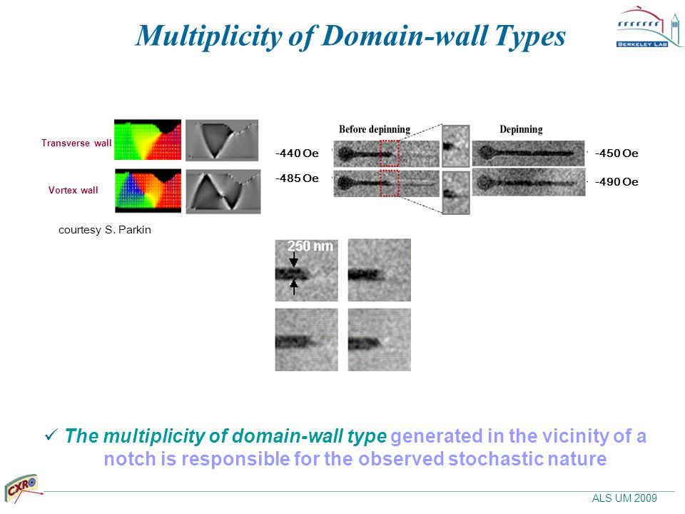 ALS UM 2009 Multiplicity of Domain-wall Types The multiplicity of domain-wall type generated in the vicinity of a notch is responsible for the observe