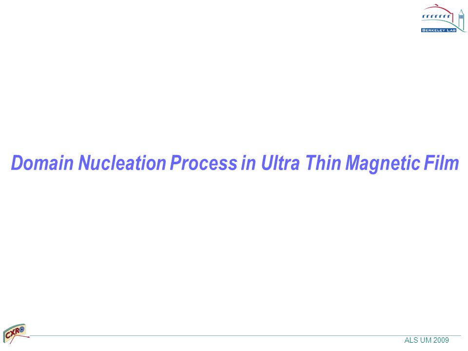 ALS UM 2009 Domain Nucleation Process in Ultra Thin Magnetic Film
