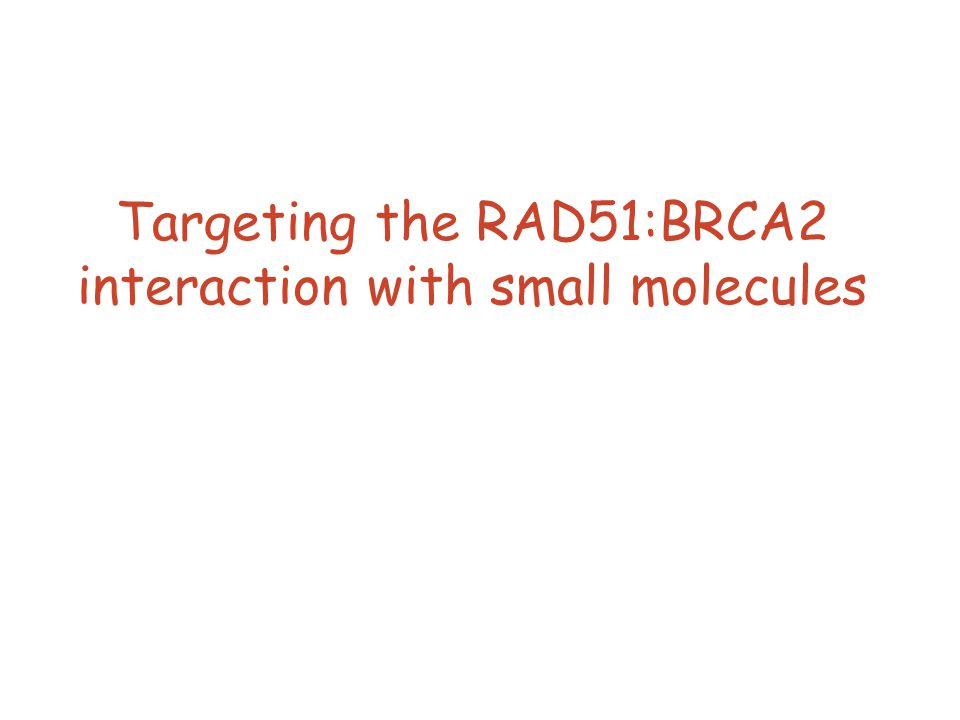 Targeting the RAD51:BRCA2 interaction with small molecules