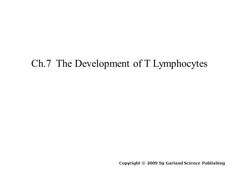 Ch.7 The Development of T Lymphocytes Copyright © 2009 by Garland Science Publishing