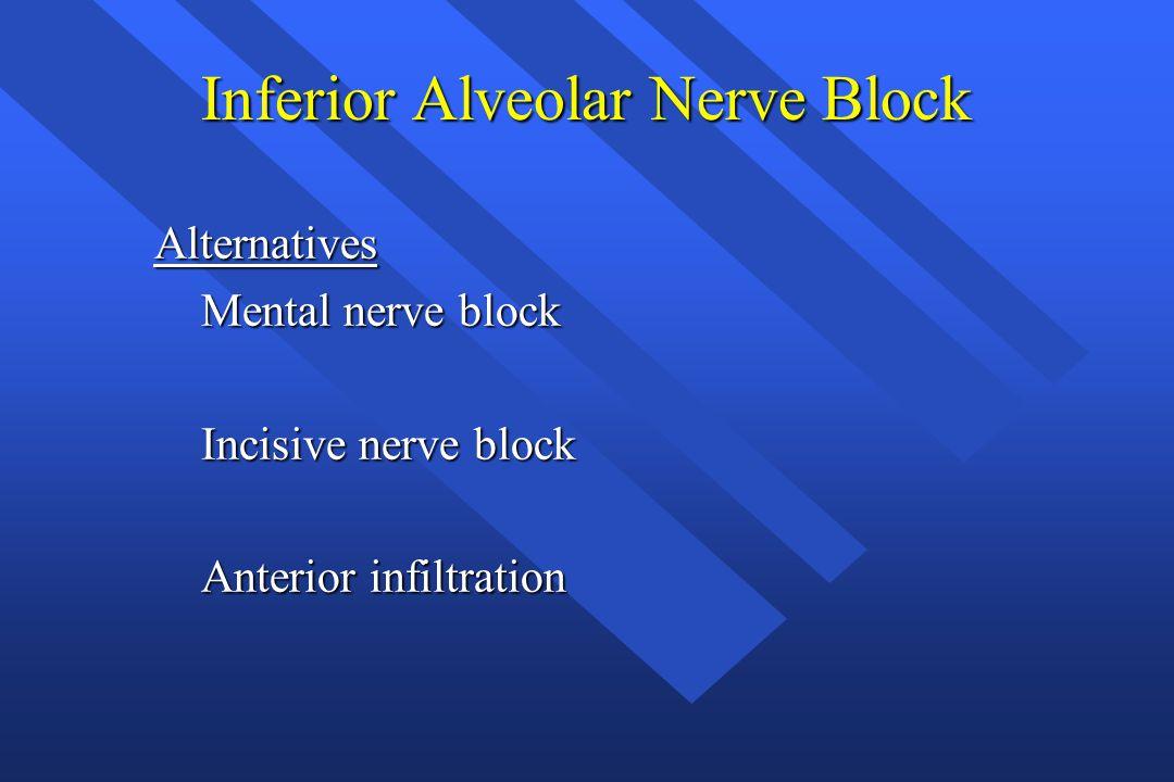 Inferior Alveolar Nerve Block Alternatives Mental nerve block Mental nerve block Incisive nerve block Incisive nerve block Anterior infiltration Anter