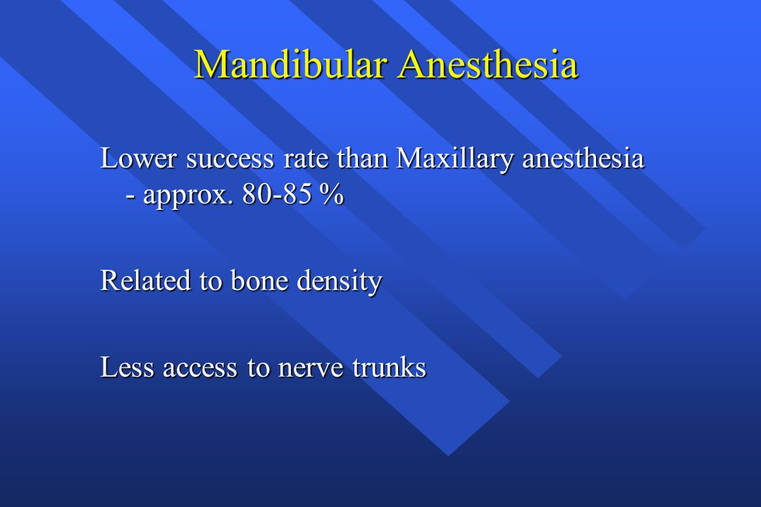 Mandibular Anesthesia Mandibular Anesthesia Lower success rate than Maxillary anesthesia - approx.