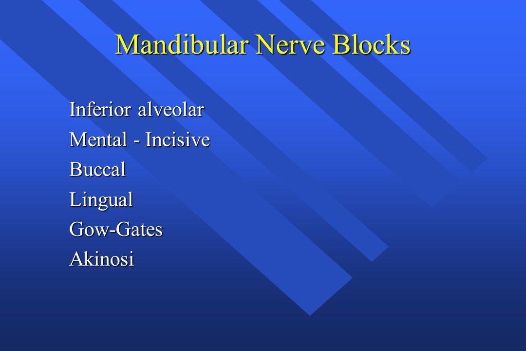 Mandibular Nerve Blocks Inferior alveolar Mental - Incisive BuccalLingualGow-GatesAkinosi