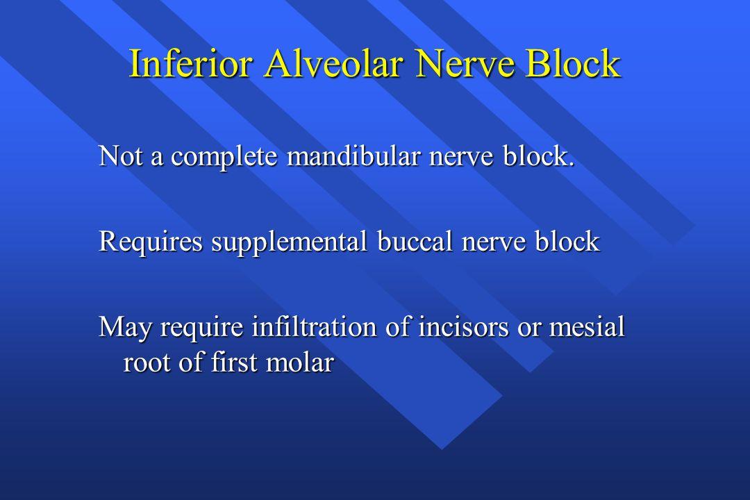 Inferior Alveolar Nerve Block Not a complete mandibular nerve block. Requires supplemental buccal nerve block May require infiltration of incisors or