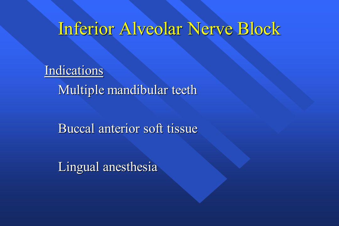 Inferior Alveolar Nerve Block Indications Multiple mandibular teeth Multiple mandibular teeth Buccal anterior soft tissue Buccal anterior soft tissue