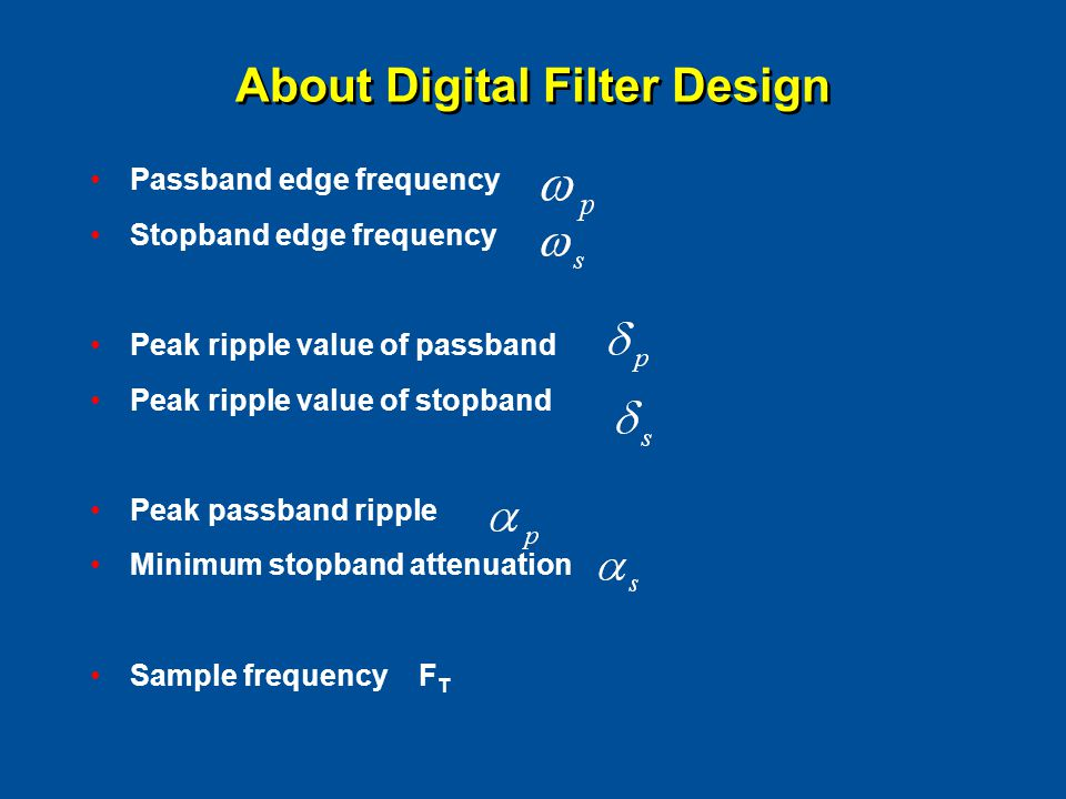 Passband edge frequency Stopband edge frequency Peak ripple value of passband Peak ripple value of stopband Peak passband ripple Minimum stopband atte