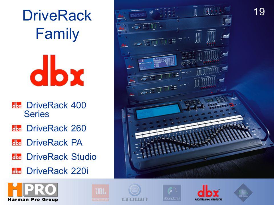 DriveRack 400 Series DriveRack 260 DriveRack PA DriveRack Studio DriveRack 220i DriveRack Family 19