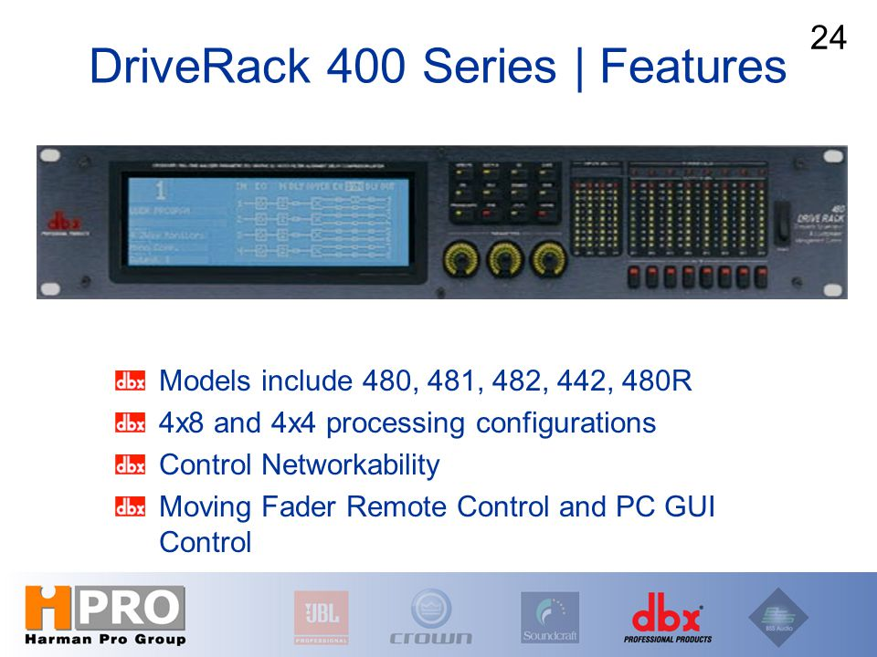 Models include 480, 481, 482, 442, 480R 4x8 and 4x4 processing configurations Control Networkability Moving Fader Remote Control and PC GUI Control DriveRack 400 Series | Features 24