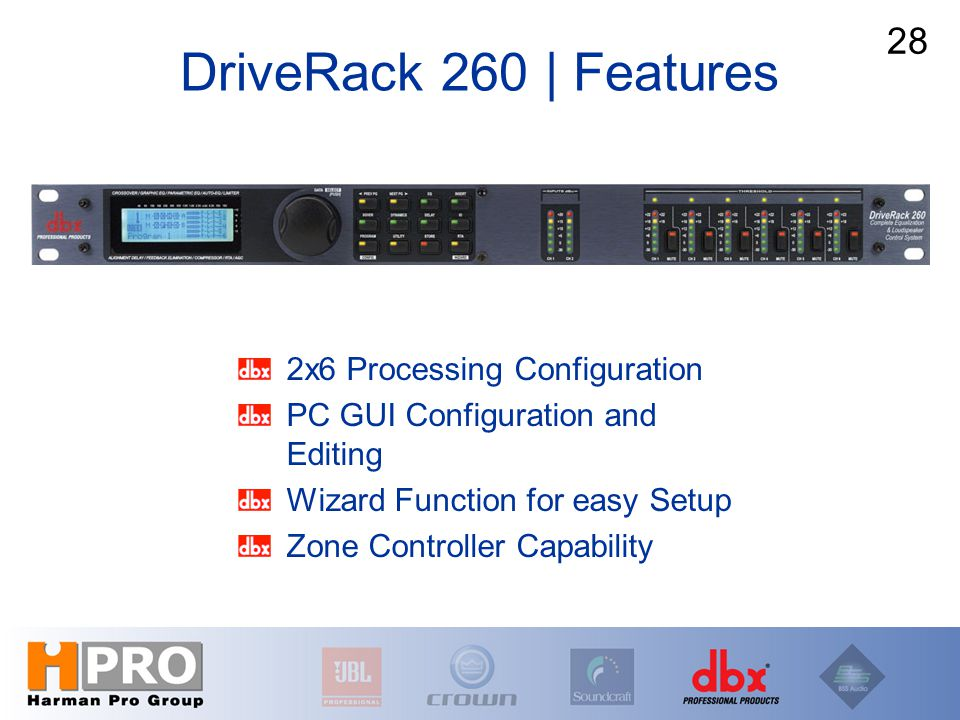2x6 Processing Configuration PC GUI Configuration and Editing Wizard Function for easy Setup Zone Controller Capability DriveRack 260 | Features 28