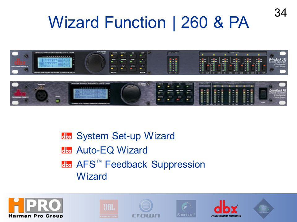 System Set-up Wizard Auto-EQ Wizard AFS ™ Feedback Suppression Wizard Wizard Function | 260 & PA 34