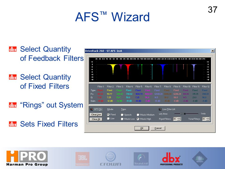 "Select Quantity of Feedback Filters Select Quantity of Fixed Filters ""Rings"" out System Sets Fixed Filters AFS ™ Wizard 37"