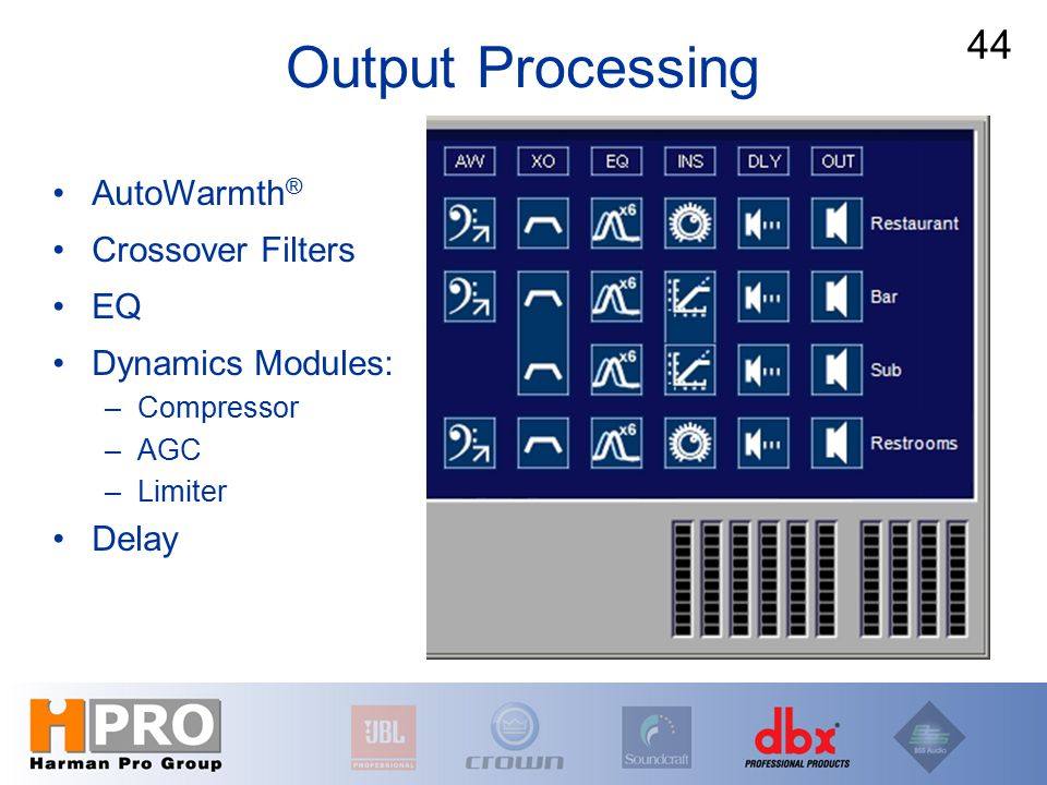 Output Processing AutoWarmth ® Crossover Filters EQ Dynamics Modules: –Compressor –AGC –Limiter Delay 44