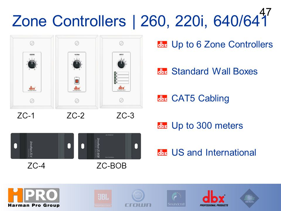 Zone Controllers | 260, 220i, 640/641 Up to 6 Zone Controllers Standard Wall Boxes CAT5 Cabling Up to 300 meters US and International 47 ZC-1 ZC-2 ZC-