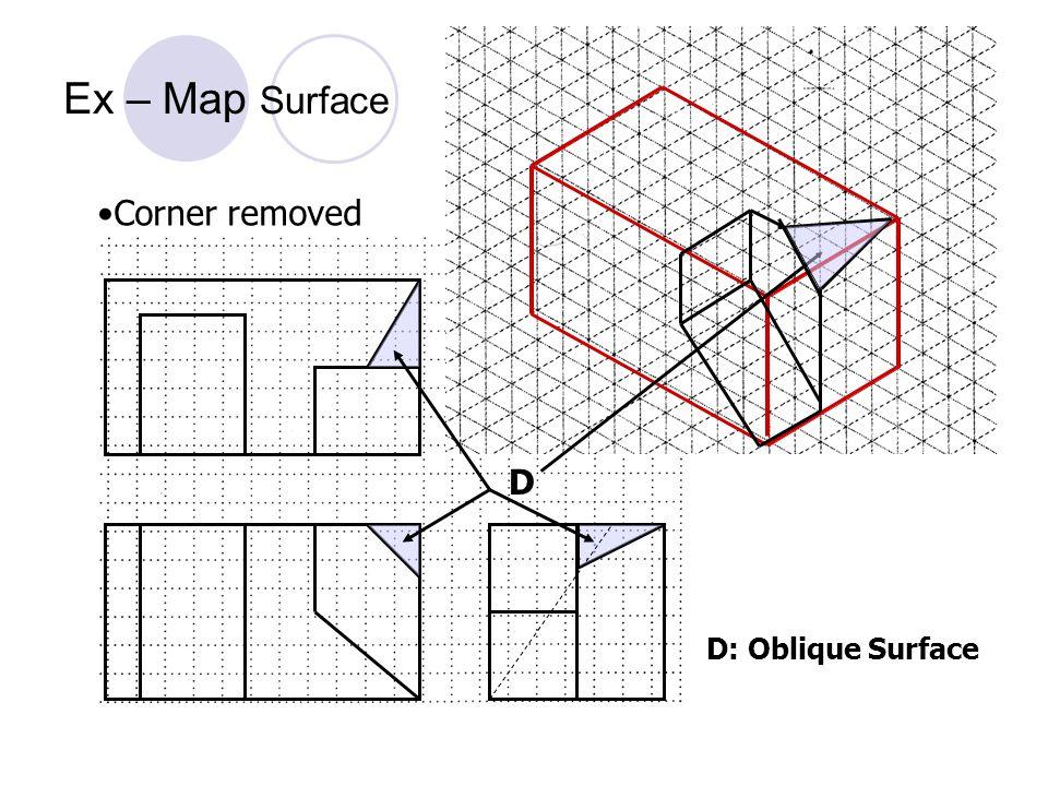 D: Oblique Surface D Corner removed Ex – Map Surface
