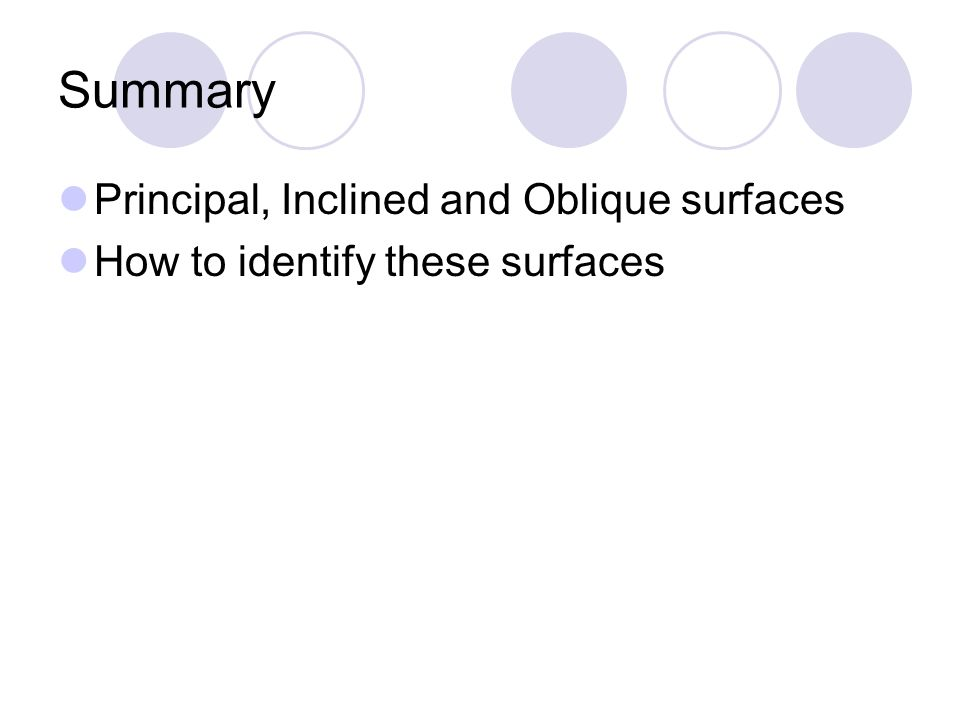 Summary Principal, Inclined and Oblique surfaces How to identify these surfaces