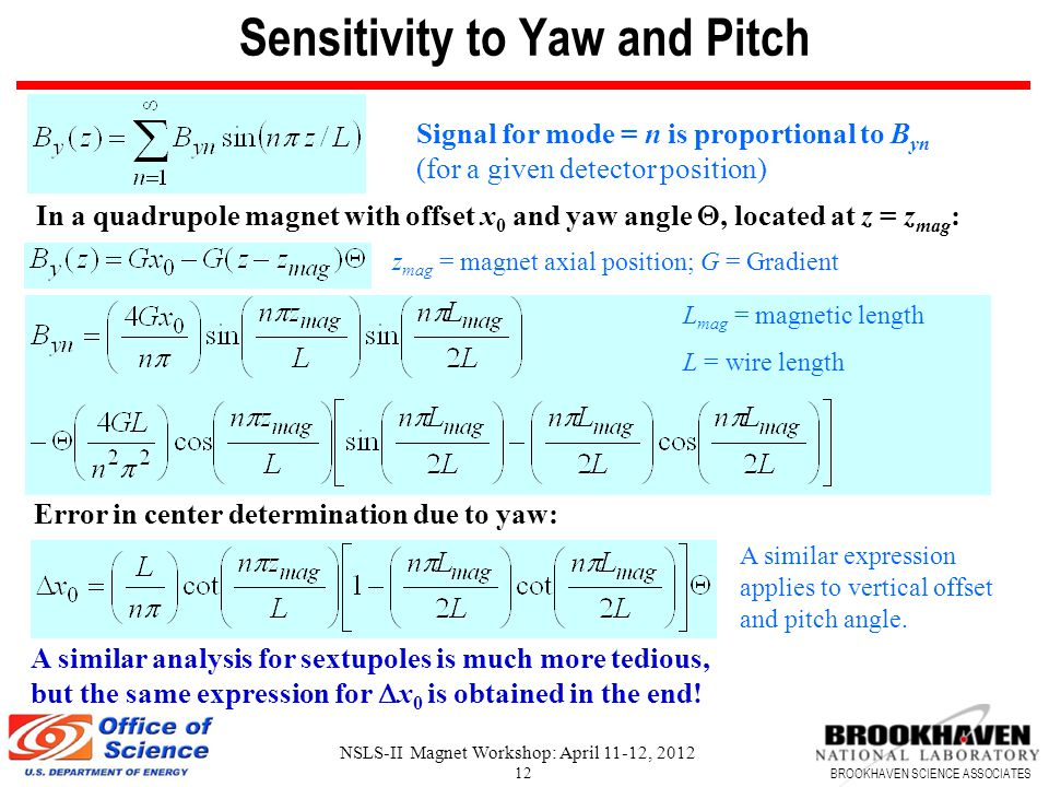 BROOKHAVEN SCIENCE ASSOCIATES NSLS-II Magnet Workshop: April 11-12, 2012 12 Sensitivity to Yaw and Pitch Signal for mode = n is proportional to B yn (