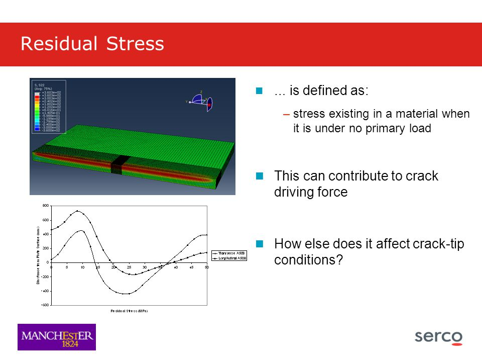 Residual Stress … is defined as: –stress existing in a material when it is under no primary load This can contribute to crack driving force How else does it affect crack-tip conditions