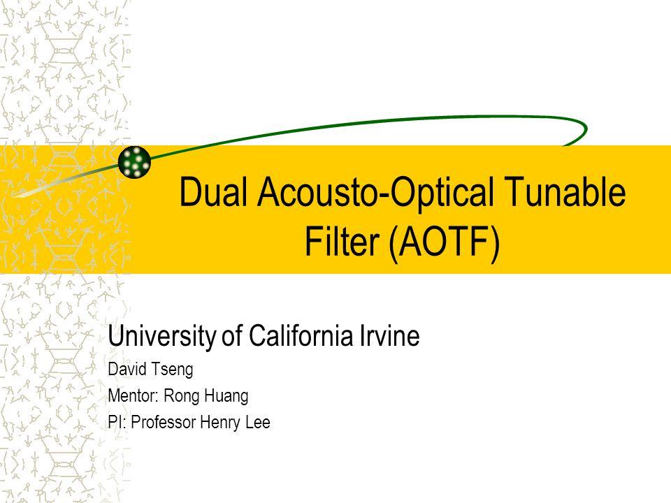 Construction of an AOTF ---- Experimental Setup Acousto-Optical Tunable Filter Dual-sheer mode PZT setup