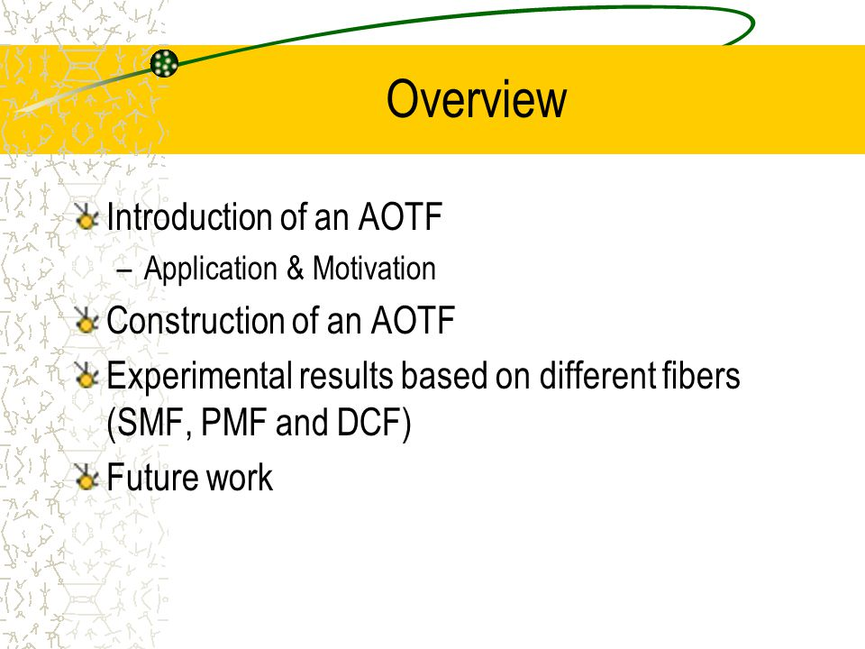 Applications of an AOTF Applicable to wavelength division multiplexing (WDM) in fiber optic communication network For spectrometry applications: Broadband Infrared (BBIR) Tunable Camera Filter (TCF), Portable NIR Spectrometer, and Portable Optical Spectra Analyzer (POSA)