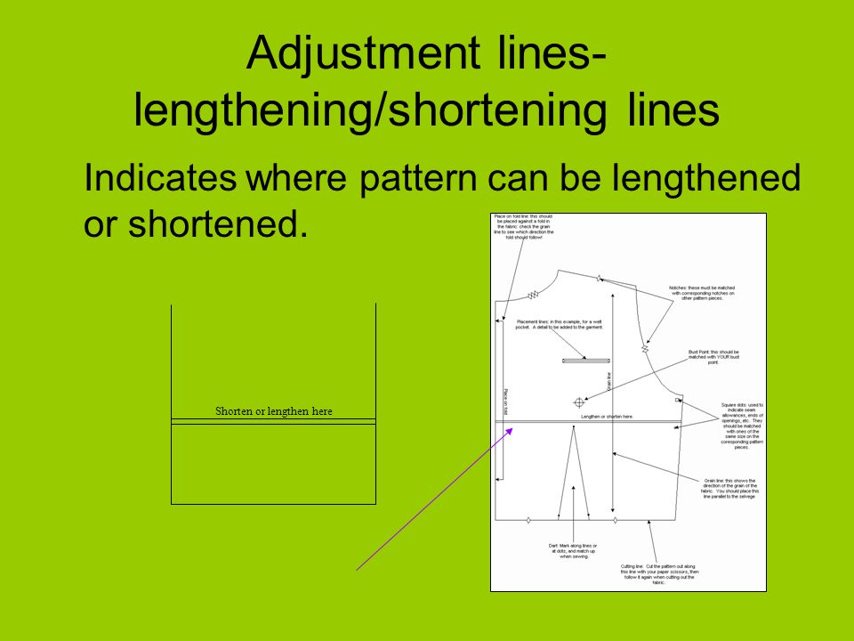 Adjustment lines- lengthening/shortening lines Indicates where pattern can be lengthened or shortened.