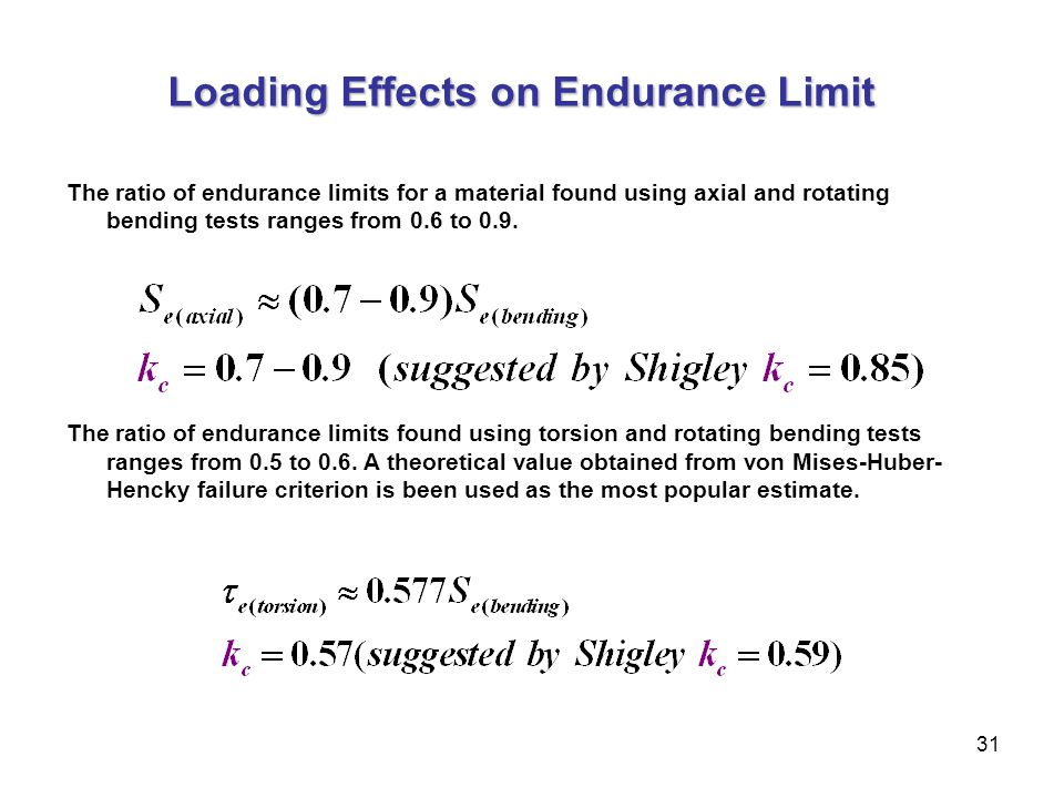31 Loading Effects on Endurance Limit The ratio of endurance limits for a material found using axial and rotating bending tests ranges from 0.6 to 0.9