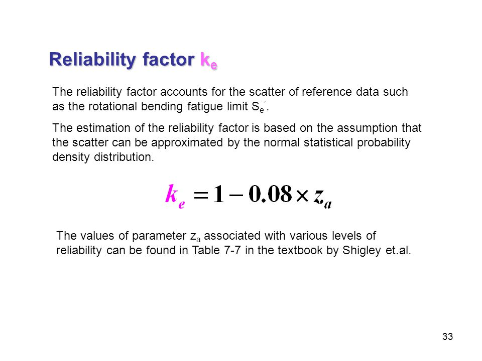 33 Reliability factor k e The reliability factor accounts for the scatter of reference data such as the rotational bending fatigue limit S e '. The es