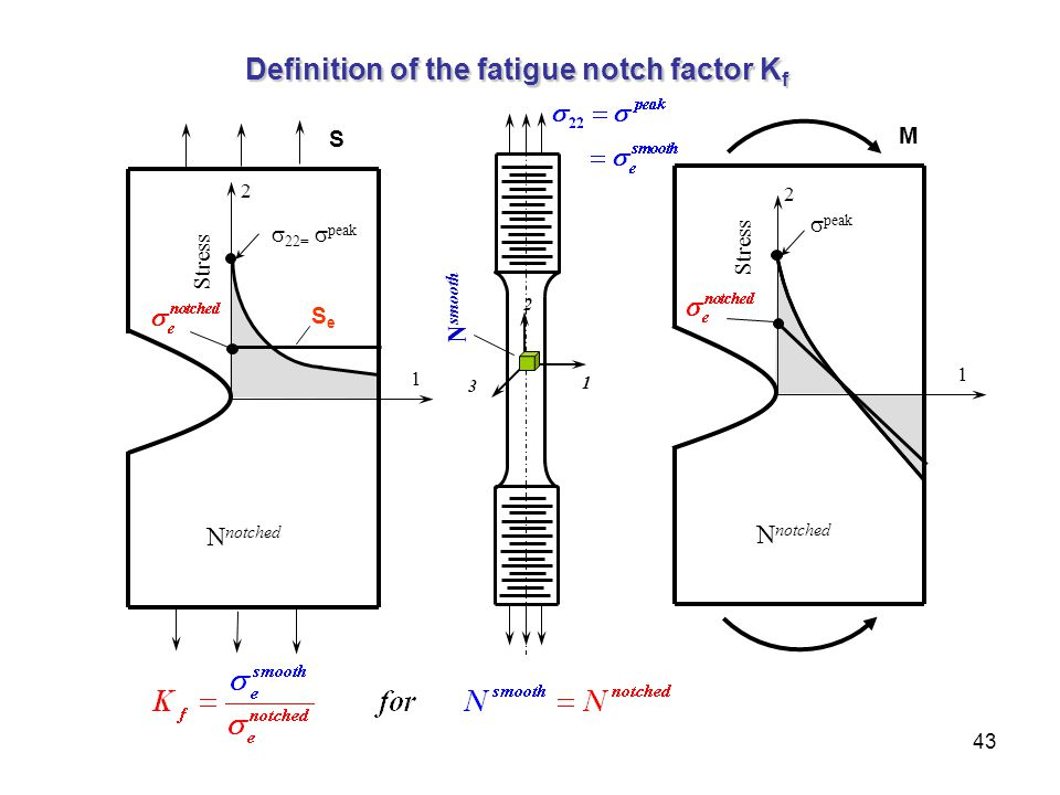 43 1 2 3 N smooth  peak Stress 1 2 N notched M Definition of the fatigue notch factor K f 1  22=  peak Stress 2 N notched S SeSe