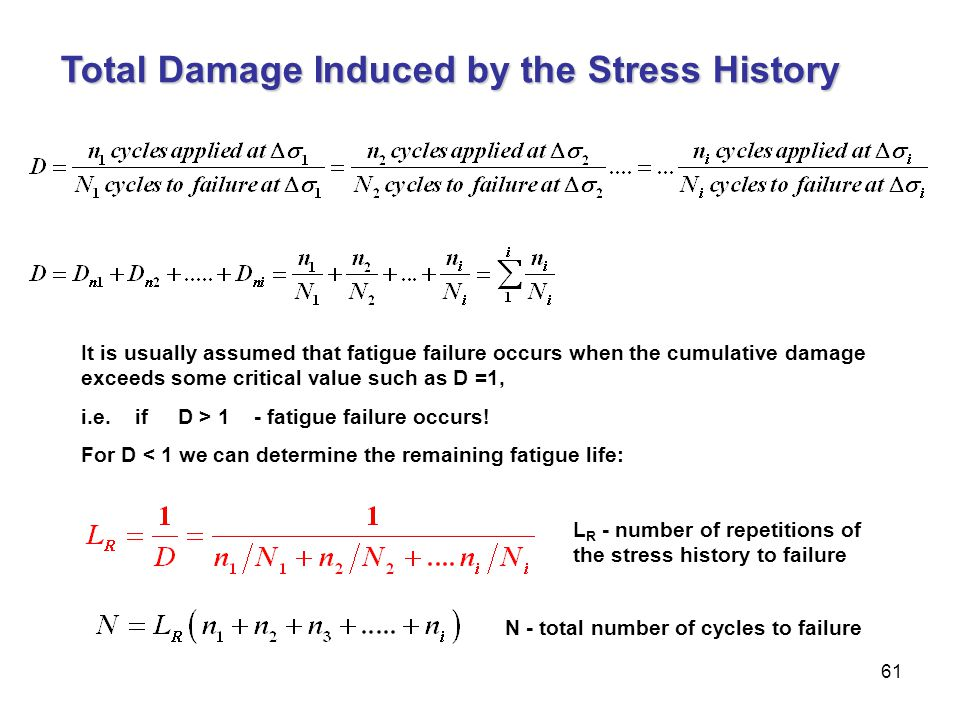 61 Total Damage Induced by the Stress History It is usually assumed that fatigue failure occurs when the cumulative damage exceeds some critical value