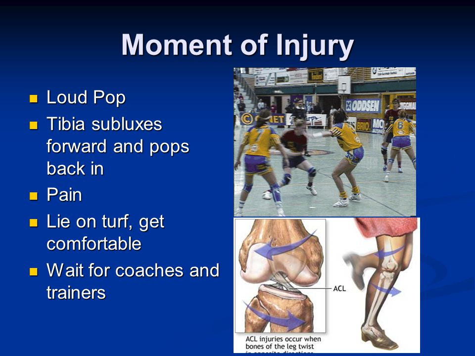Moment of Injury Loud Pop Loud Pop Tibia subluxes forward and pops back in Tibia subluxes forward and pops back in Pain Pain Lie on turf, get comfortable Lie on turf, get comfortable Wait for coaches and trainers Wait for coaches and trainers