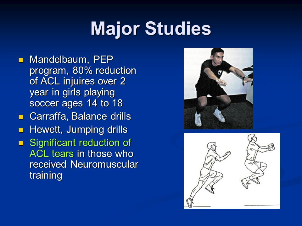 Major Studies Mandelbaum, PEP program, 80% reduction of ACL injuires over 2 year in girls playing soccer ages 14 to 18 Mandelbaum, PEP program, 80% reduction of ACL injuires over 2 year in girls playing soccer ages 14 to 18 Carraffa, Balance drills Carraffa, Balance drills Hewett, Jumping drills Hewett, Jumping drills Significant reduction of ACL tears in those who received Neuromuscular training Significant reduction of ACL tears in those who received Neuromuscular training