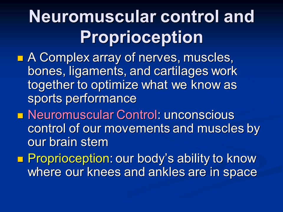 Neuromuscular control and Proprioception A Complex array of nerves, muscles, bones, ligaments, and cartilages work together to optimize what we know as sports performance A Complex array of nerves, muscles, bones, ligaments, and cartilages work together to optimize what we know as sports performance Neuromuscular Control: unconscious control of our movements and muscles by our brain stem Neuromuscular Control: unconscious control of our movements and muscles by our brain stem Proprioception: our body's ability to know where our knees and ankles are in space Proprioception: our body's ability to know where our knees and ankles are in space
