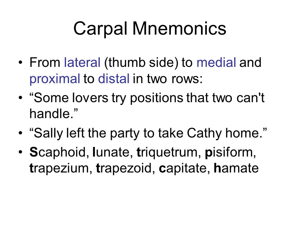 """Carpal Mnemonics From lateral (thumb side) to medial and proximal to distal in two rows: """"Some lovers try positions that two can't handle."""" """"Sally lef"""